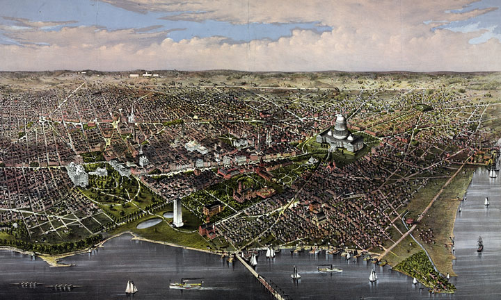 Washington, DC bird's eye view - 1880